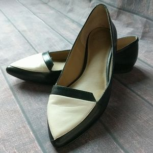 Ann Taylor | Black and Cream Pointed Flats